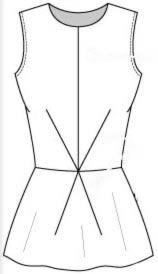 Выкройка блузки с баской без рукавов