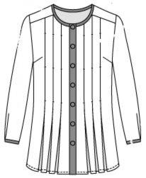 выкройка блузки без воротника с длинным рукавом