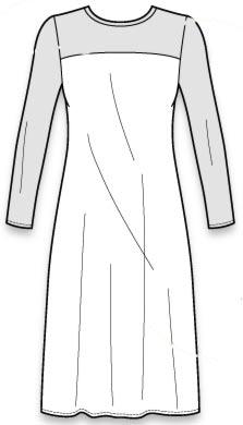 выкройка женского платья на кокетке с длинными рукавами