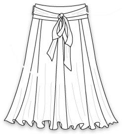 выкройка юбки с одним швом сзади