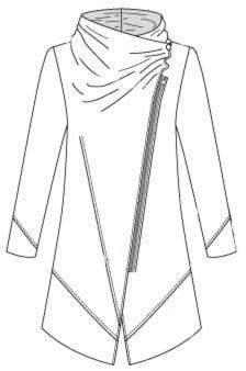 Выкройка длинного жакета с косой застёжкой на молнию с цельнокроеным воротником