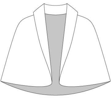 Выкройка накидки с цельнокроеным воротником шаль