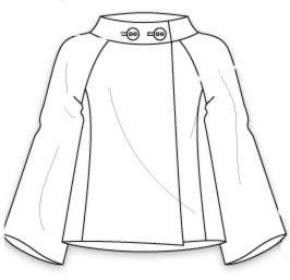 Выкройка короткого жакета в стиле шанель с расширенными рукавами реглан и широкой горловиной с воротником стойкой