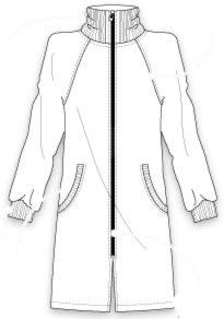 Выкройка длинного женского жакета на молнии с рукавом реглан